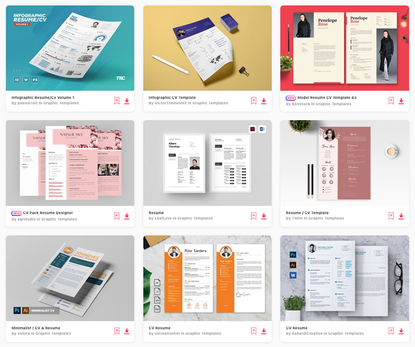 Best Pictorial Resume design templates on Envato Elements 2019