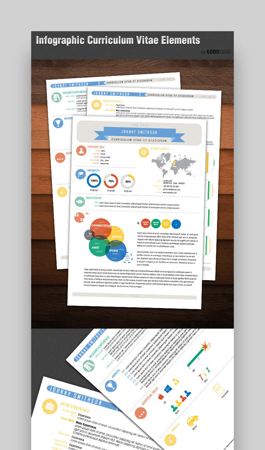 Infographic Curriculum Vitae Resume Elements
