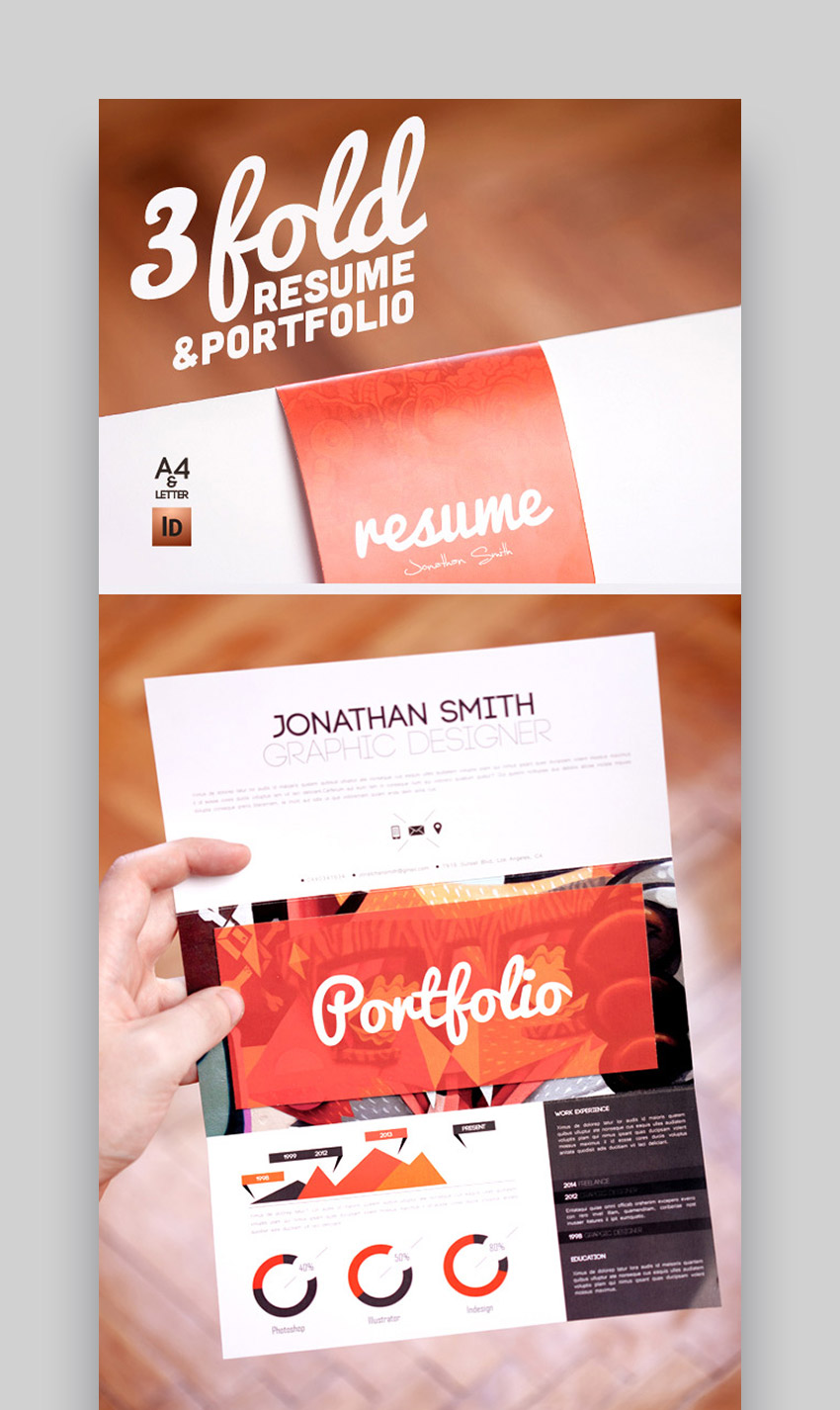 Tri-Fold Visual Resume  Portfolio Template Set