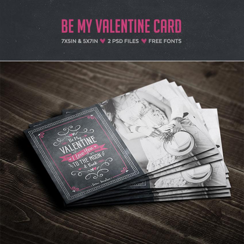 Be My Valentine Card - Chalkboard Card Design