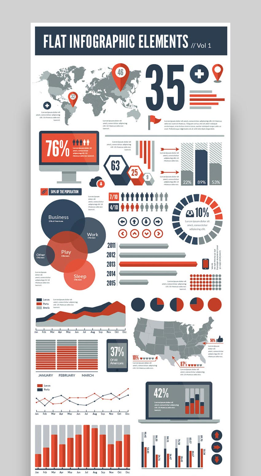 Flat Vector Infographic Design Elements