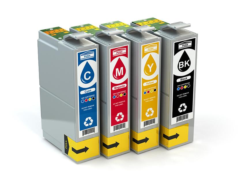 Cartridges for colour inkjet printer CMYK