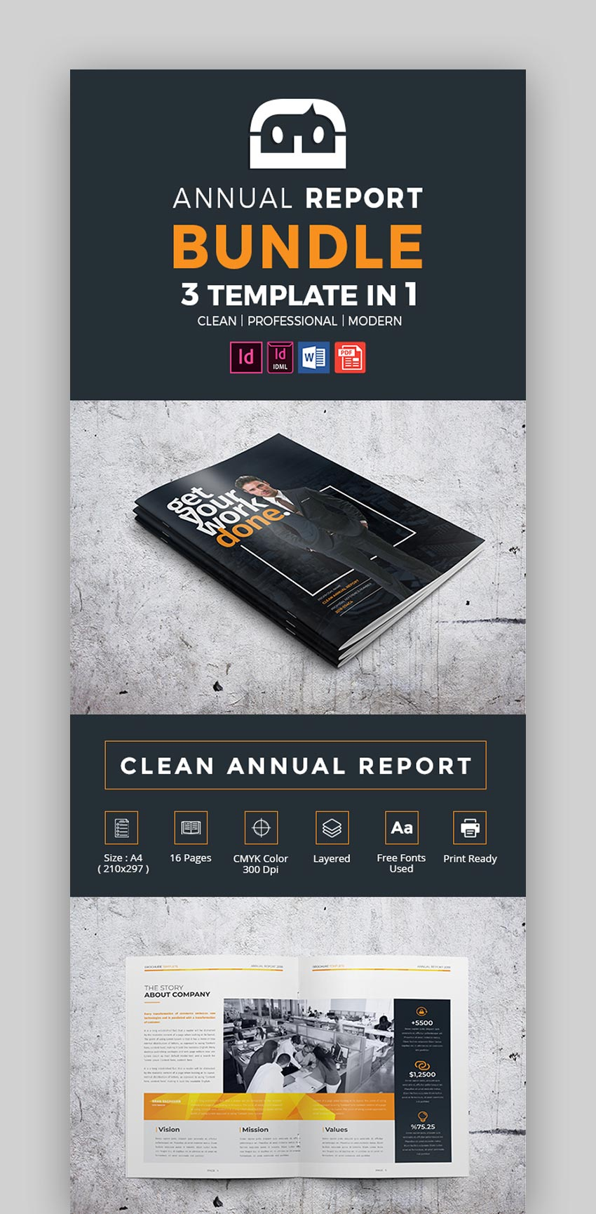 Clean Annual Report Bundle - 3 templates in 1