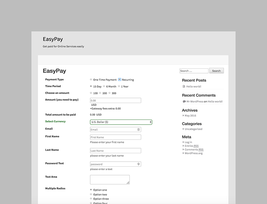 EasyPay WordPress Paypal  Stripe Plugin to Pay Online