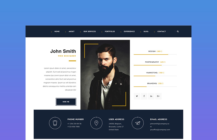23  best html resume templates to make personal profile cv