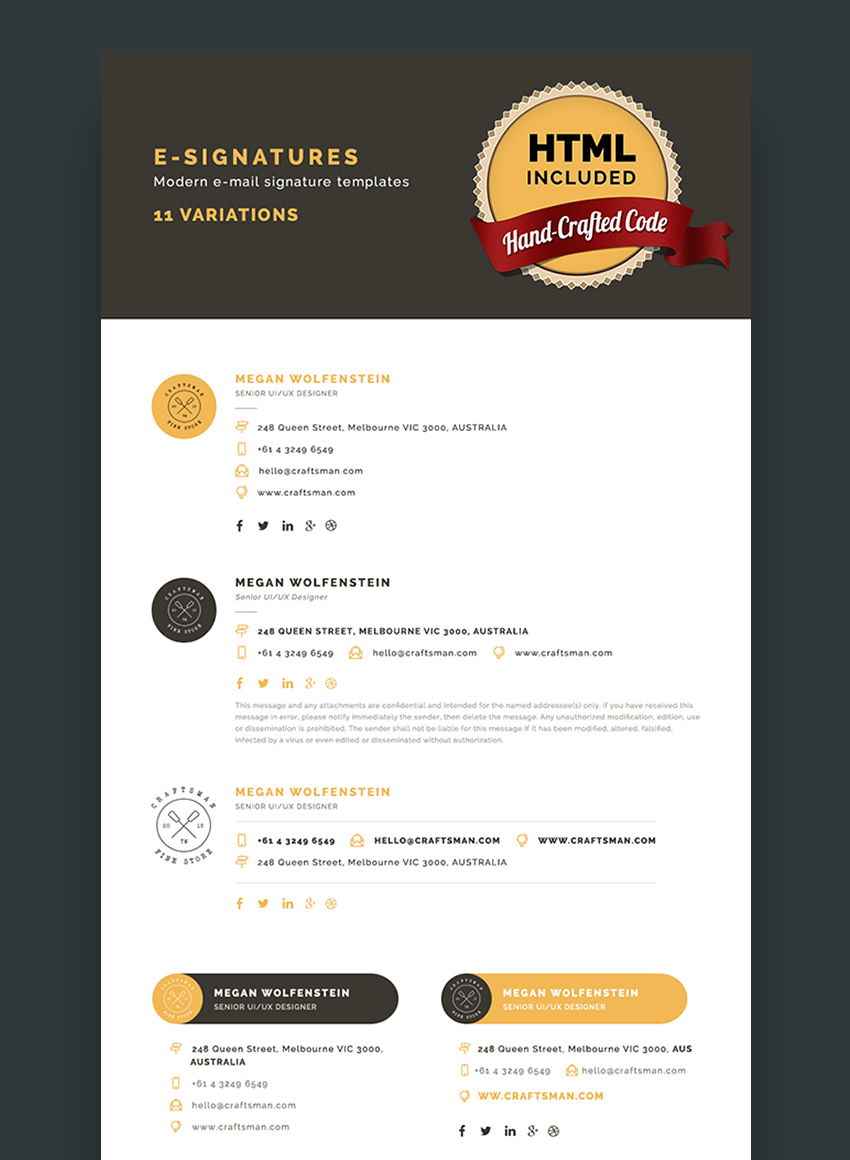 11 Modern Email Signature HTML Templates