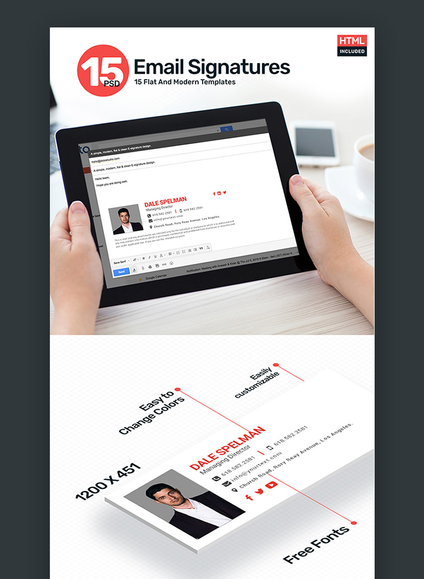 15 Email Signature Template PSD  HTML