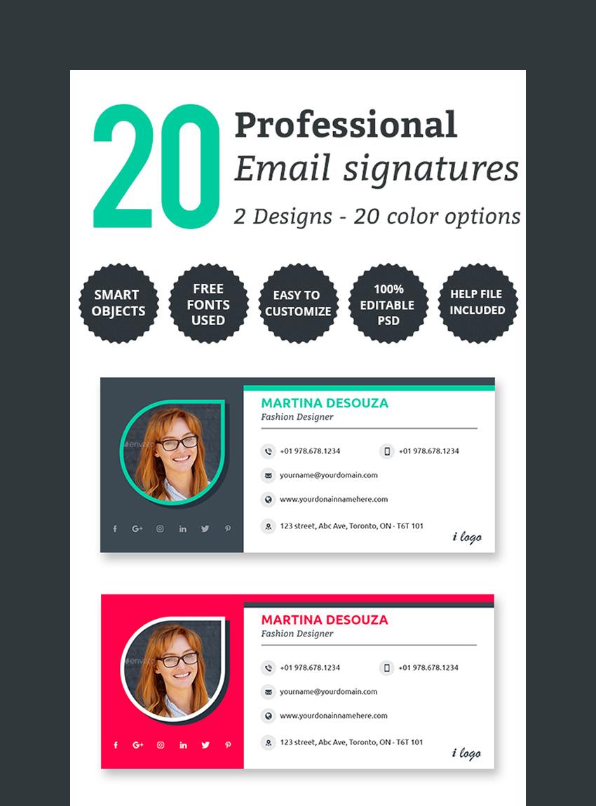 20 PSD Professional Email Signature Templates