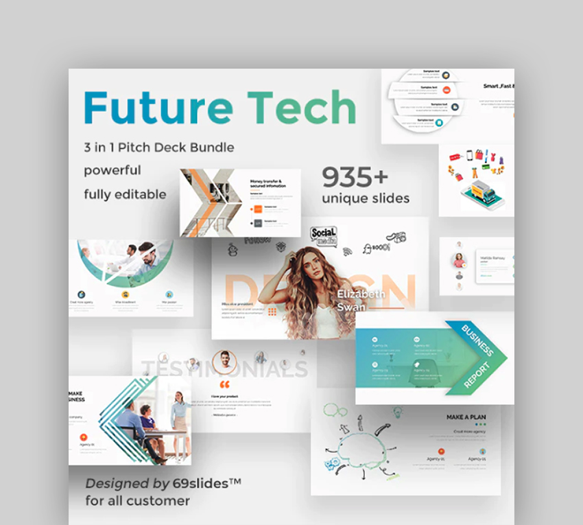 Future Tech 3 in 1 Pitch Deck Bundle - Google Slide Template