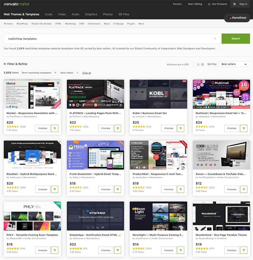 Popular email templates from ThemeForest