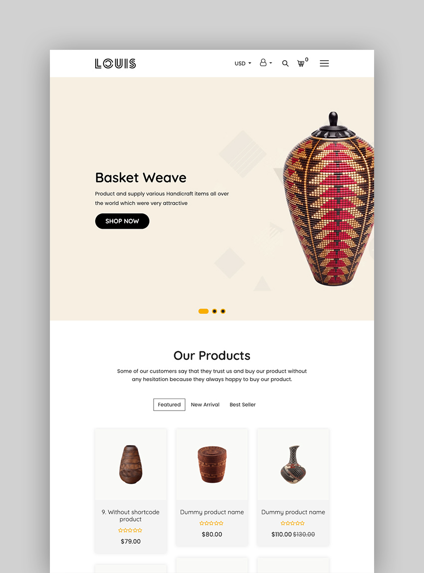 Louis - Handmade  Craft Responsive Shopify Theme