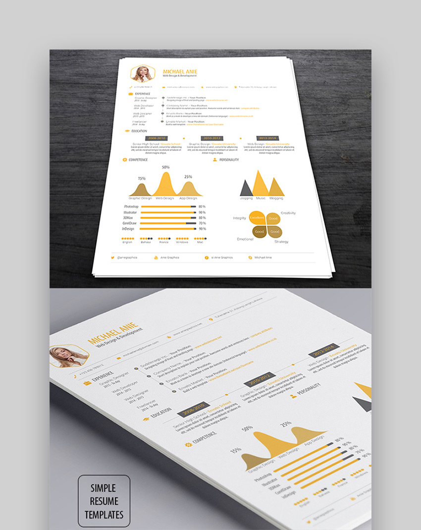 Simple Resume Template with Graphics