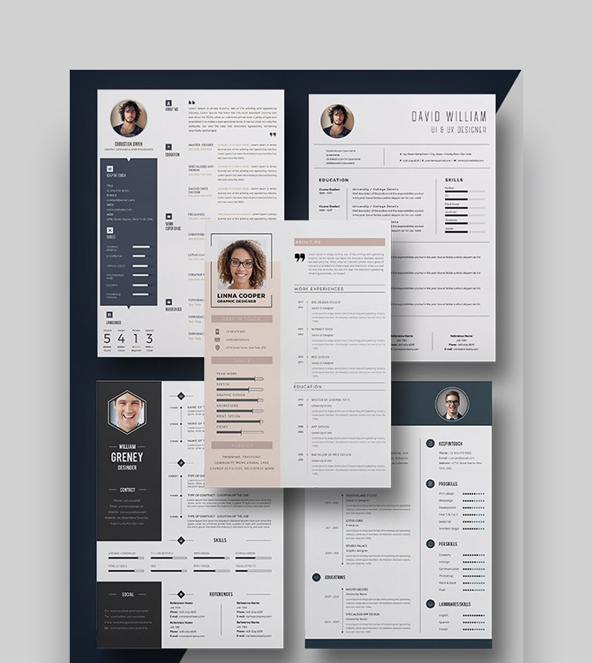 The Resume Bundle - 5 Resumes  Cover Letters