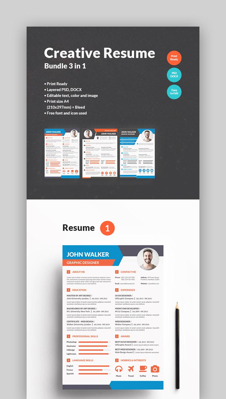 Bundle - Colorful Resume Templates