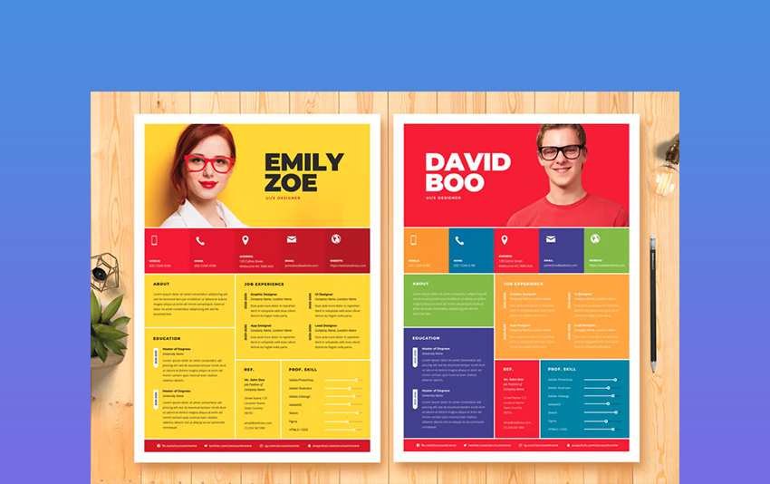 Metro - Bold Color Resume Templates