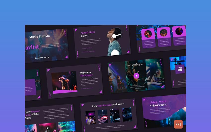 Playlist - PowerPoint Templates Music Theme