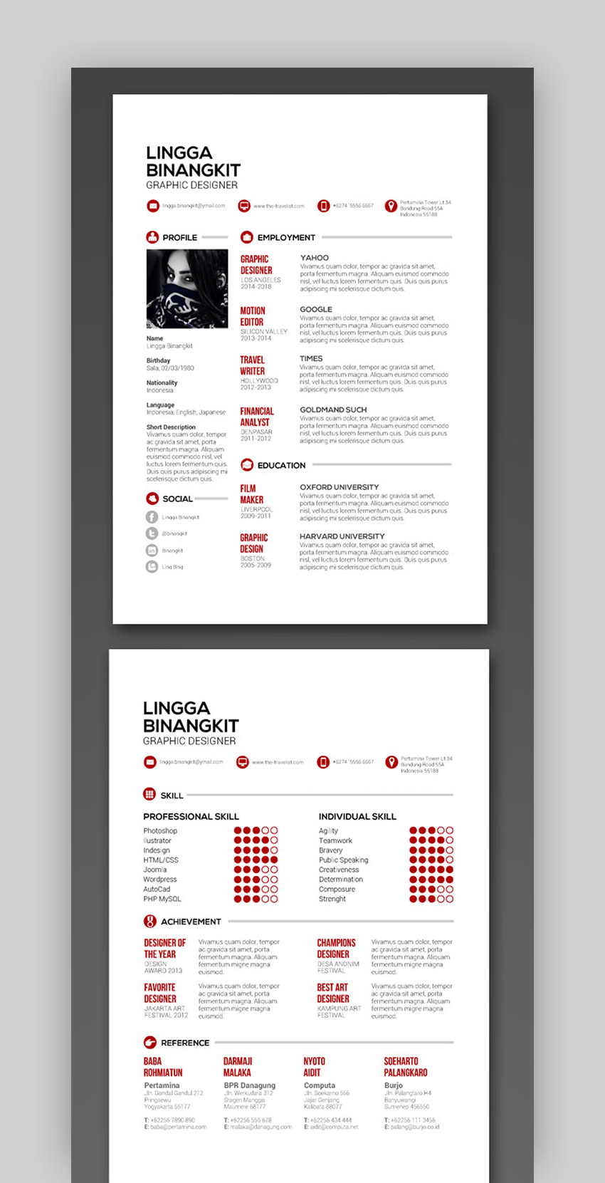 Sewon Clean InDesign CV Template