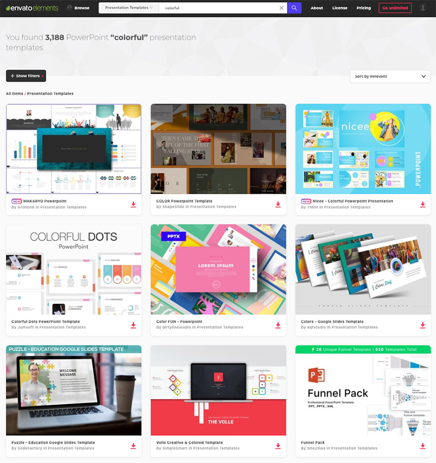 There are hundreds of colorful templates for PowerPoint available from Envato Elements