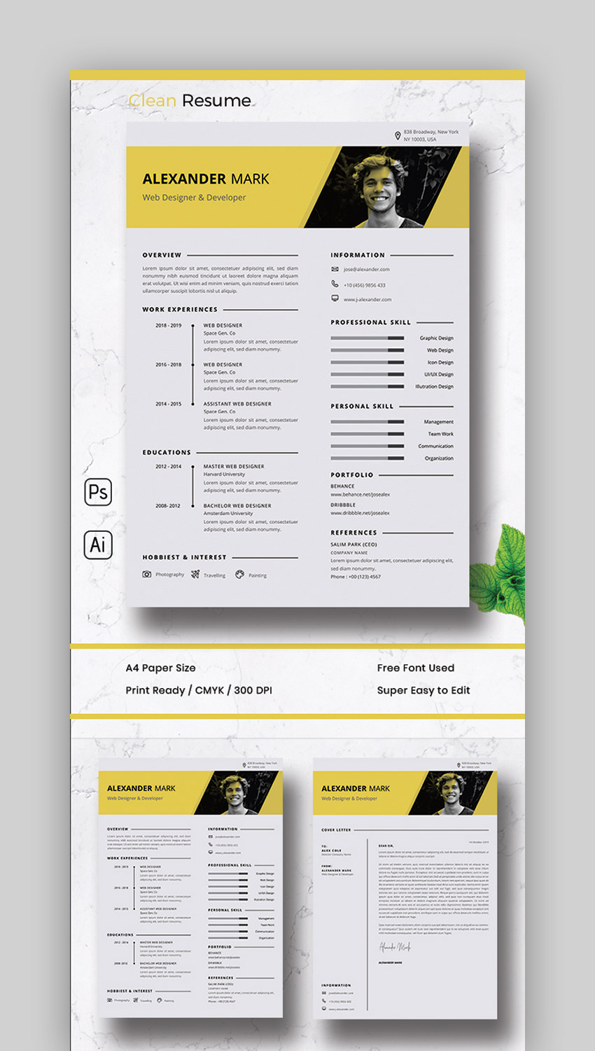 Modern Resume Style  Matching Cover Letter