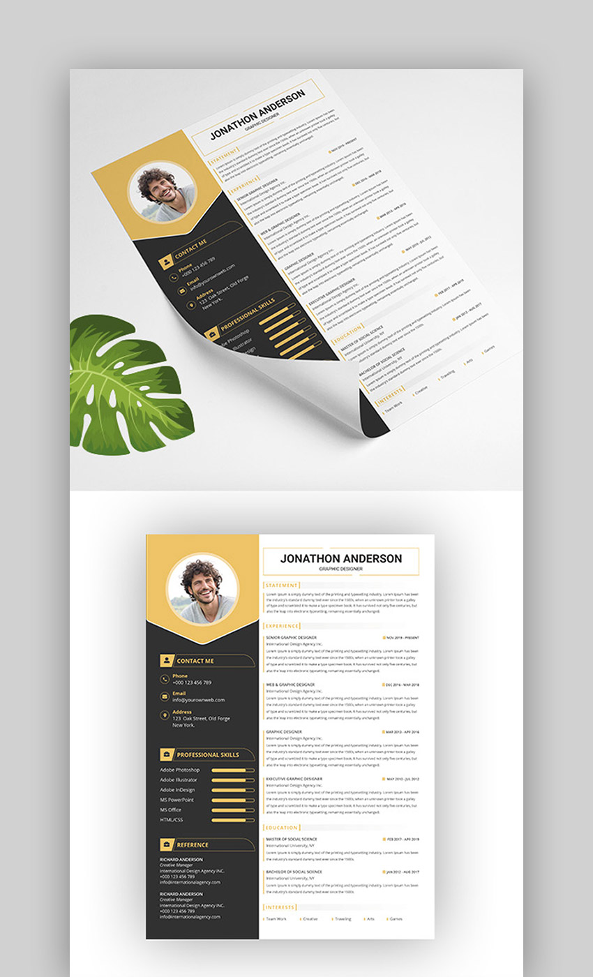 29 Best Contemporary New Styles Resume Cv Templates For 2020
