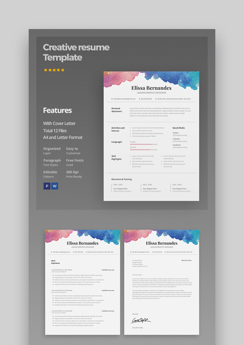 Splash of Colors - Creative Resume Template