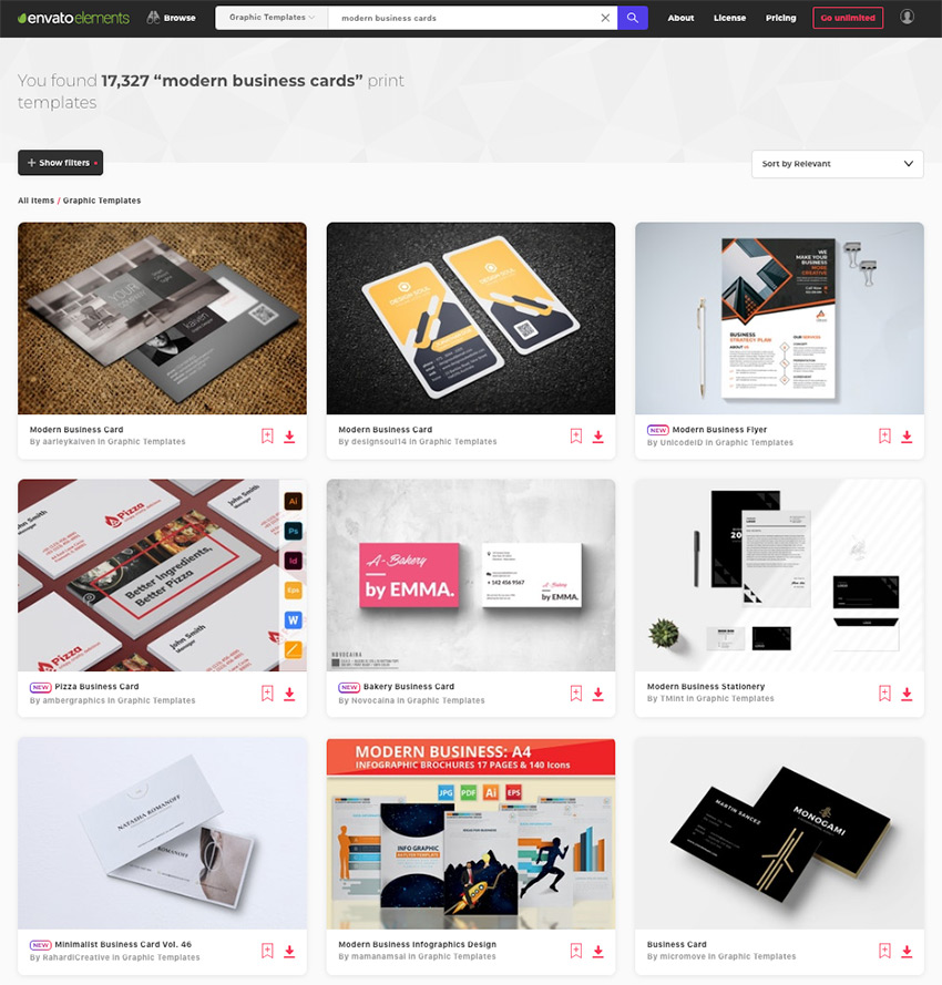 Tons of Minimal And Modern Business Card Templates on Envato Elements