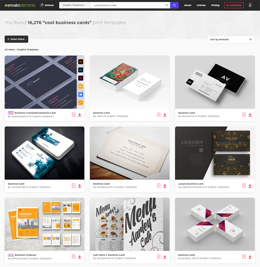 Hundreds of cool and creative business card ideas on Envato Elements