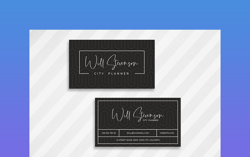 Dark Minimalist Business Card Template