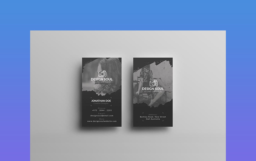 Black and Grey Photography Business Card Design
