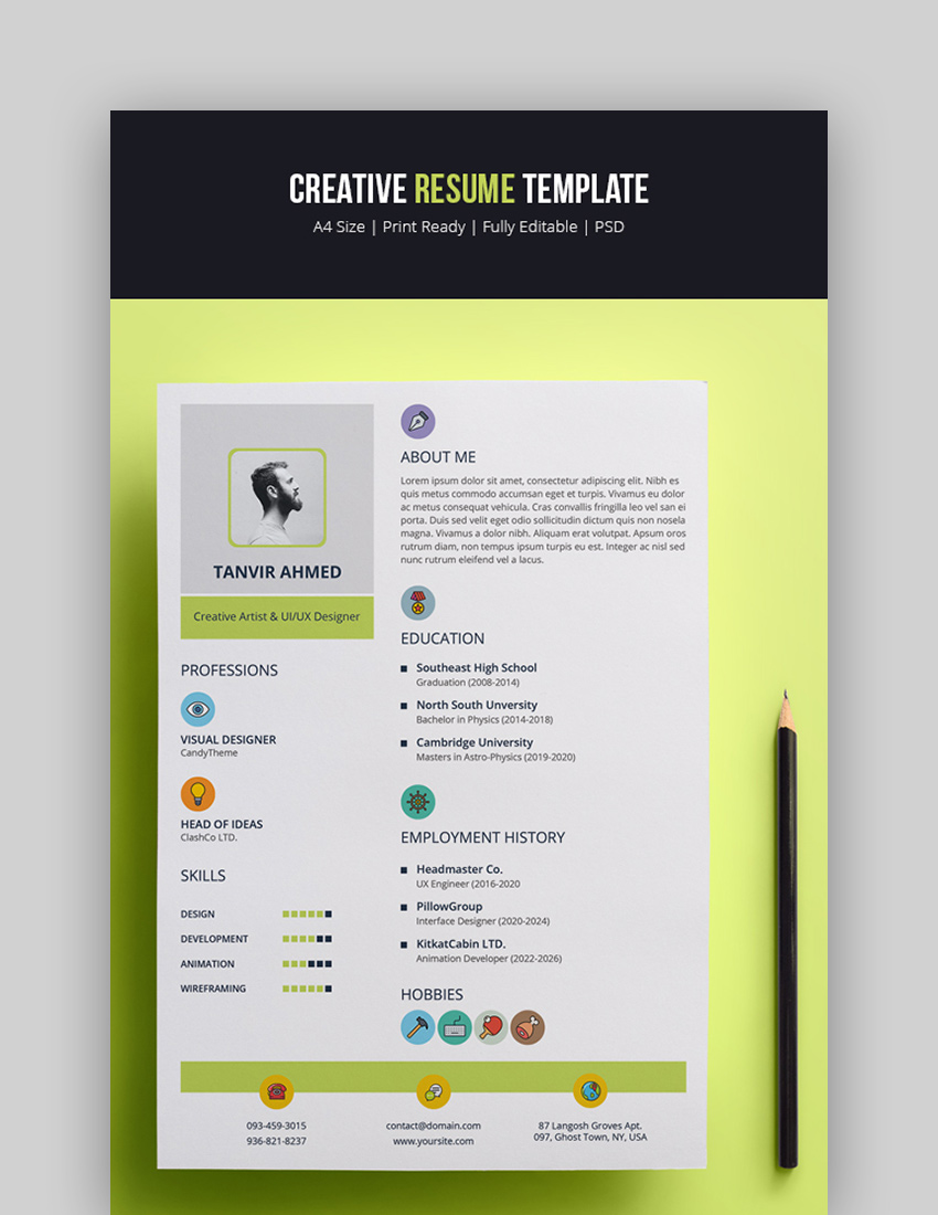 25 attractive eyecatching resume cv templates with
