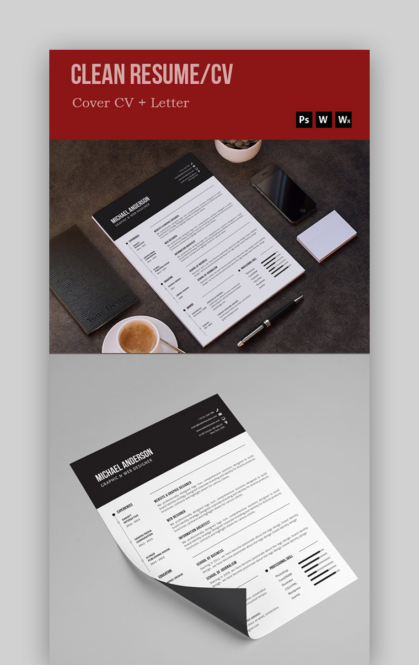 Black  White - Eye-Catching CV Templates