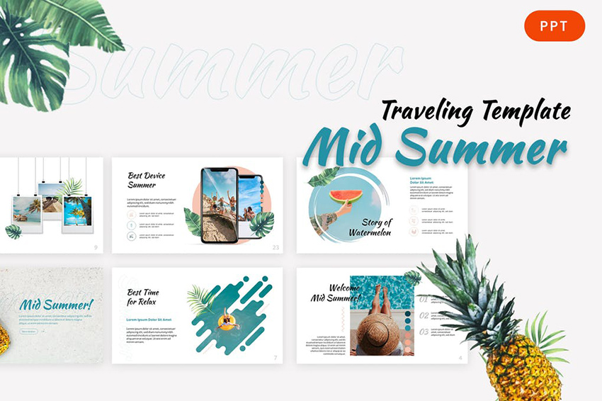 A template with color scheme that creates a tropical summer beach feel on Envato Elements