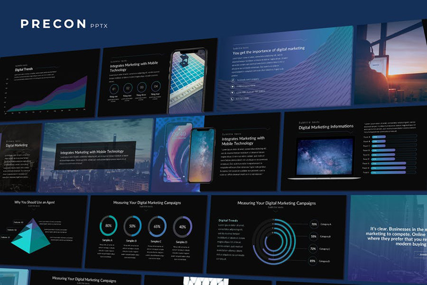 Precon - Tech Business PowerPoint Template loaded with useful infographics