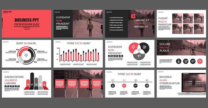 A smart use of red in PowerPoint Templates to highlight some information