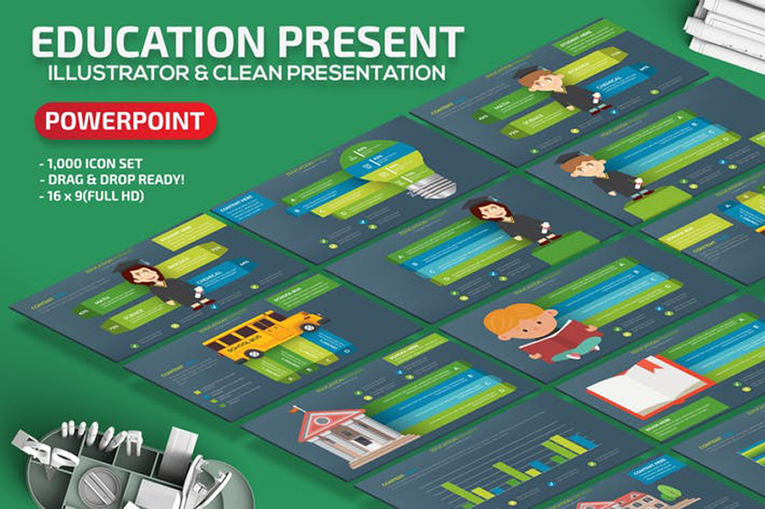 Education - Gray Green Board PowerPoint Template