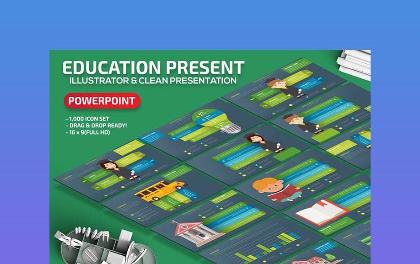 Education - Black  Green Board PowerPoint Template