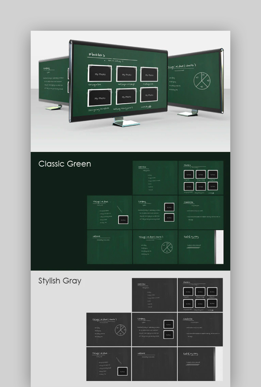 Fresh - Gray and Green Board PowerPoint Template