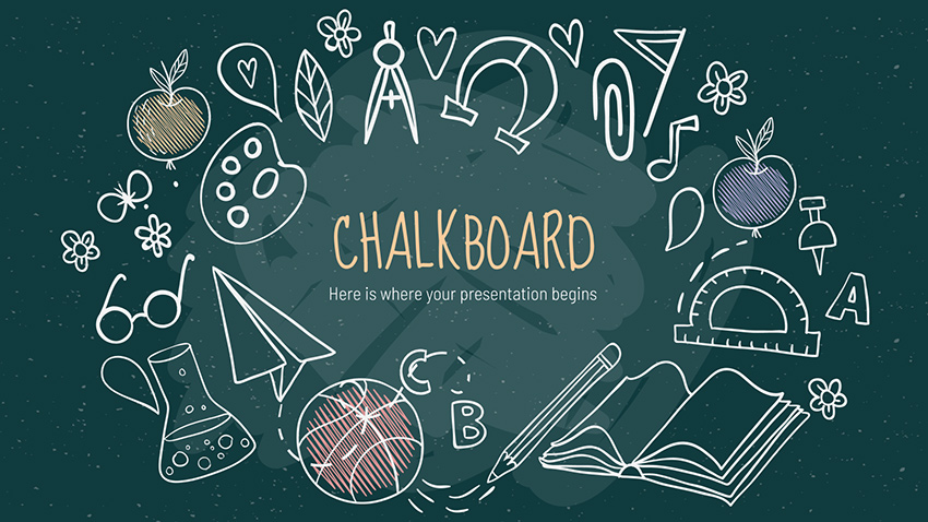 Green Chalkboard - Chalk Dust PowerPoint Presentation Template Free
