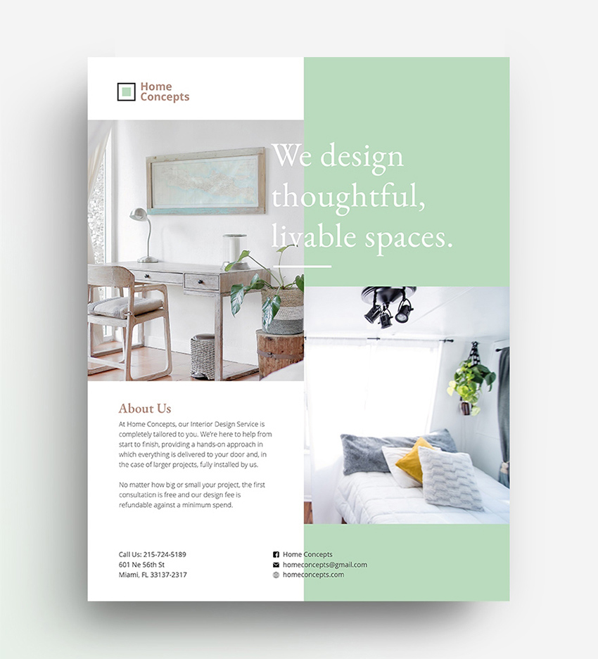 Interior Design - Free Flyer Templates PSD