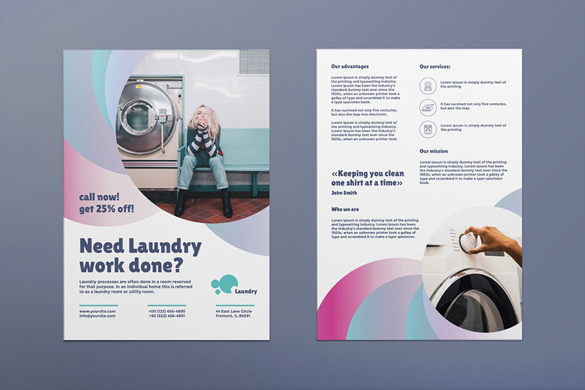 Laundry Flyer is a double-sided flyer that uses plenty of white space