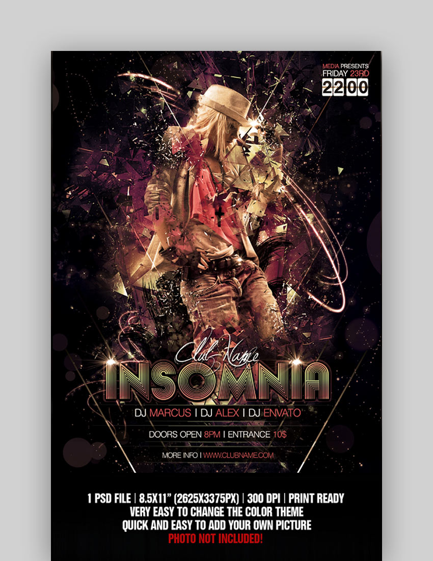 Insomnia - Night Club Flyer or Poster