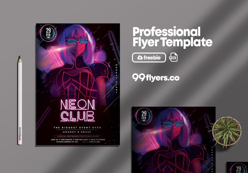 Neon Club Party PSD Free Flyer Template