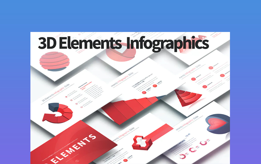 3D Elements - Download Template PowerPoint 3D Infographics
