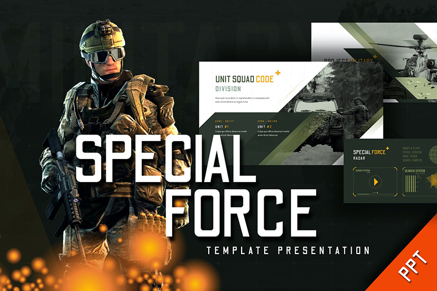 Special Force - Army PPT Slides a premium pre-built template on Envato Elements