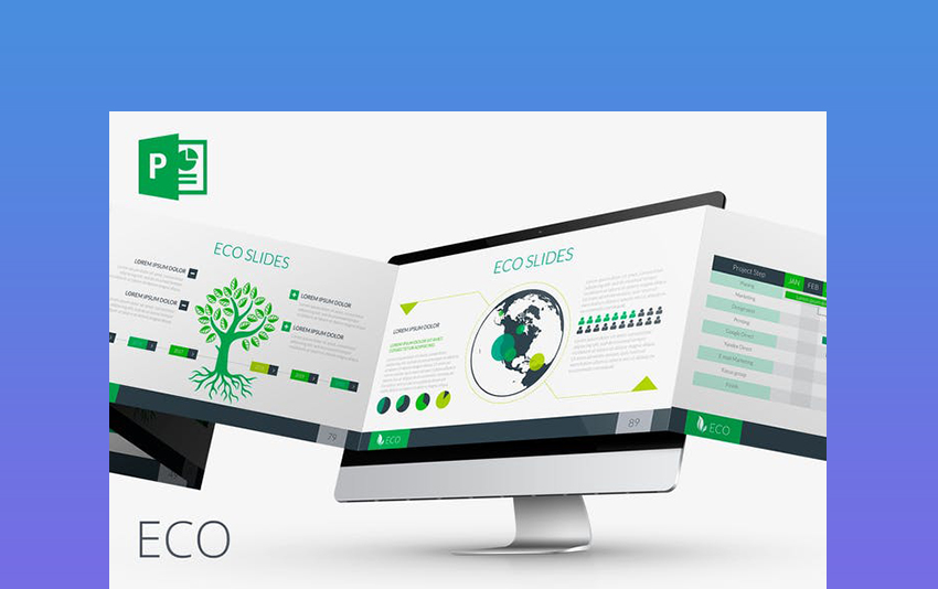 Eco PPT Template Background Green Themes