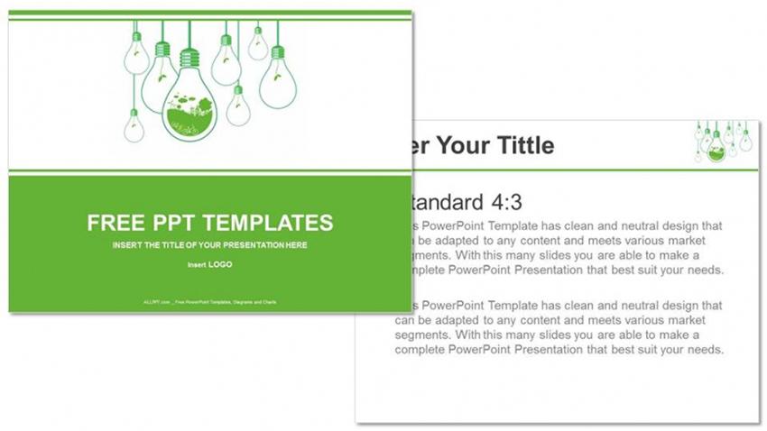 Handing Bulbs - Green Environment PPT Templates Free Download