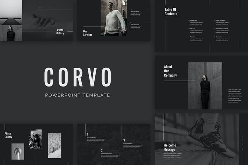 Corvo - Dark PowerPoint Templates a premium template from Envato Elements