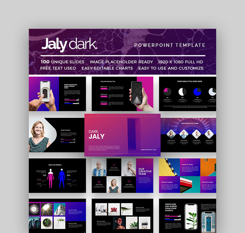 Jaly Dark Black Theme PowerPoint