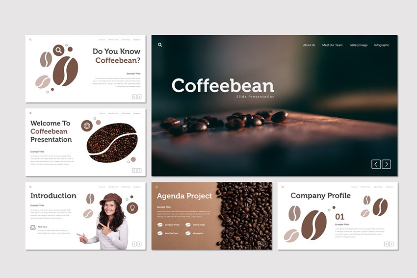Coffebean - Powerpoint Template a premium clutter free PPT template from Envato Elements