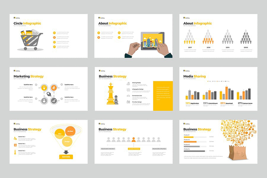 Building PowerPoint Presentation a clean and well designed template on Envato Elements